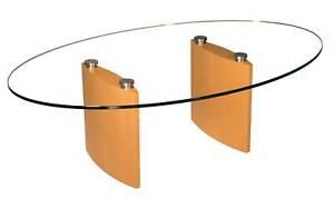 OBA Couchtisch 120x85cm oval Glasplatte Gestell Echtholz Buche furniert
