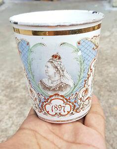 Vintage Original Dieu-Et-Mon-Droit+Crown Marked 1837/1897 Victorian Enamel Glass