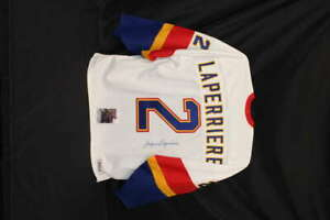 JACQUES LAPERRIERE SIGNED MASTERS OF HOCKEY WHITE BAUER JERSEY JSA COA JB017