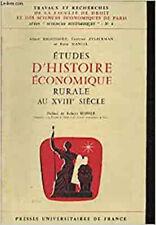 Etudes d'histoire économique rurale au XVIIIe siècle