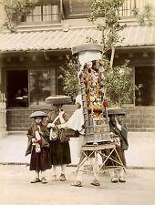 c1890s, Portable SHRINE, young prayer hailers YOKOHAMA japan, albumen photograph