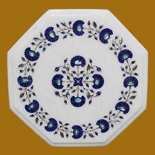 """15"""" Marble Corner Table Semi Precious Stone Pietra Dura Floral Art Gift"""