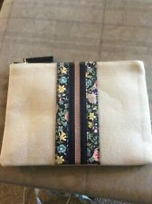 "BNWT BEIGE WITH LEAF STRIPE ACCESSORIZE ZIP POUCH/MAKEUP BAG SIZE APPROX 9"" X 7"""