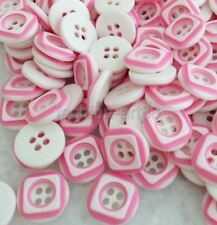 100pcs Pink Square Pattern Round Resin Buttons Fit Scrapbook Sewing Craft frk014