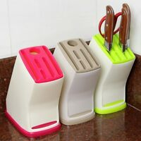 Plastic Knife Holder Block Scissor Slot Storage Rack Kitchen Organizer Tool