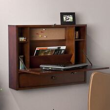 Southern Enterprises Wall Mount Laptop Desk in Brown Mahogany Finish HO8290R New