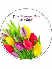 """Novelty Personalised Bright Tulips 7.5"""" Edible Wafer Paper Cake Topper flowers"""