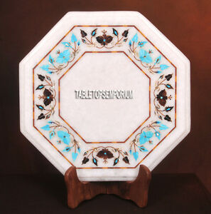 12'' Marble Tops Center Table Turquoise Gemstone Pietradura Inlay Garden Decor