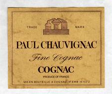 """COGNAC (16) ETIQUETTE chromo FINE COGNAC """"PAUL CHAUVIGNAC"""""""