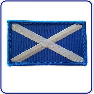 Embroidered Scottish Saltire Flag Badge Patch Sew on or Iron on 75x43mm