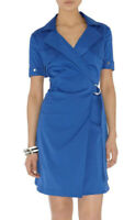 New KAREN MILLEN Blue Cotton BNWT £160 Shirt Wrap Dress DL113 UK SIze 8 EU 36
