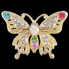 Fashion Gold Plated Butterfly Crystal Rhinestone Brooch Pin Women Party Jewelry