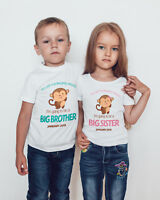 BIG SISTER/BROTHER CUTE MONKEY Personalised T-shirt/bodysuit /kids/baby/toddler