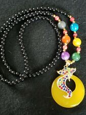Jade Beads Necklace&Gold-plated Inlaid Amber Beeswax &Rhinestone Pendant FREE SH