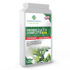 Probiotics 5 BILLION CFU 120 Capsules Acidophilus Bifidobacterium longum FOS UK