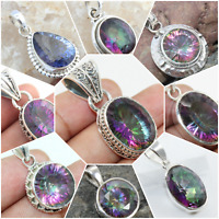 925 SOLID STERLING SILVER HANDMADE JEWELRY PENDANT IN MYSTIC TOPAZ