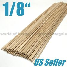 """60ct 1/8"""" Wood Dowel Rods Unfinished Smooth Wooden Stick Crafts Woodworking C065"""
