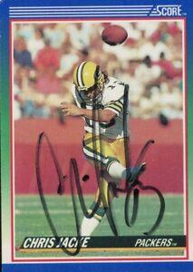 1990 Score CHRIS JACKE Signed Card autograph PACKERS SUPER BOWL