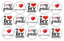 15 x GRANDAD FATHERS DAY EDIBLE 4CM FAIRY CUP CAKE TOPPERS FREE DELIVERY D10