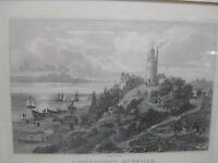 RARE Vintage Lowestoft Lighthouse Suffolk England Drawing Etching Print by J Raw