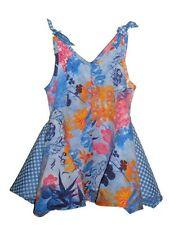 Clayeux French Designer Summer Sun Dress Blue Floral Baby Girls - Size 12 Months