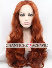 Copper Red Synthetic Hair Lace Front Wigs Cheap Long Natural Wavy Heat OK Wig Uk
