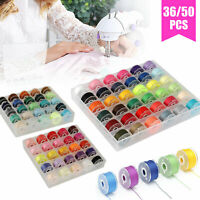 36/50X Sewing Machine Bobbins Thread Spools Case With Threads for Sewing Machine
