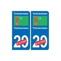 Autocollant Turkménistan Türkmenistan sticker numéro département au choix plaque