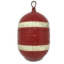 """Vintage Metal Fishing Float Buoy Old Crab Lobster Net 9"""" AC42 POA Red White Sea!"""