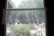 """2 White Lace Floral Bouquet Valance Curtain 60"""" X 17"""""""