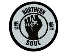 NORTHERN SOUL fist 45 rpm WOVEN SEW ON PATCH wigan atlantic tamla lambreta vespa