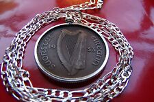"1933 Antique Irish Rare Penny Bezel Pendant on a 28"" 925 Sterling Silver Chain"