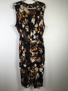 City Chic womens black floral sleeveless jumpsuit plus size XL with belt
