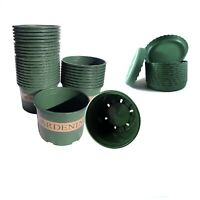 "10-30 pcs/6.26""-9.8"" Green Plastic Pots with Tray indoor outdoor Garden plants"
