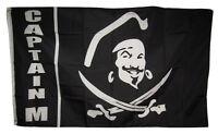 3x5 Jolly Roger Pirate Captain M flag banner grommets Caribbean Pirate