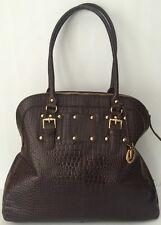 Vintage L CREDI Brown Faux Crocodile Alligator Leather Shopper Tote Handbag