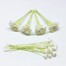 100 Mini White Gypso Mulberry Paper Flowers 6 mm. Wedding Card Artwork Craft DIY