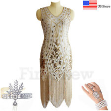 Vintage Roaring 20s 1920s Dress Flapper Great Gatsby Party Sequin Fringe Dresses