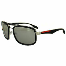 Prada Sport Sunglasses 52PS 1BO2B0 Silver & Black Rubber Silver Mirror