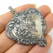 Vtg 1976 Towle 925 Sterling Silver Ornate Heart Large Puffy Pendant