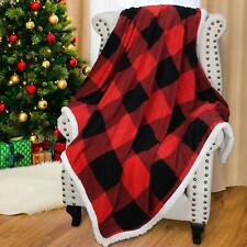 Buffalo Check Sherpa Fleece Throw Blanket Red Black Checkered Flannel Blanket