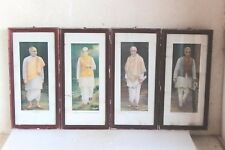 4 Pc Photo Frame Indian Freedom Fighter Print Old Vintage Antique Home Decor Y45