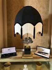 Vintage Traditional Deco Downton Antique Style 100% Black/gold silk Lampshade