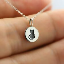 TINY ETCHED CAT NECKLACE - 925 Sterling Silver - Cat Charm Kitty Meow Pet NEW