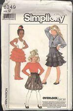 Girls Ruffled Skirt Pattern Size 12 Simplicity 8249 Serger - Uncut