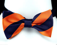 Men's Dress Bow Tie Adjustable Wedding Regimental Striped Blue & Orange Bowtie