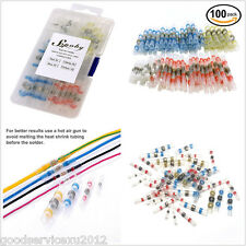 100 Pcs Autos Copper Solder Seal Heat Shrink Butt Wire Connector Terminals & Box