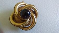 Antique 14k Gold Garnet Woven Eternity Etched Watch Holder Pin Brooch