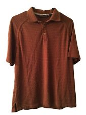 Tommy Bahama 18 Golf Medium Men's Brown Geometric Golf Polo Shirt Short Sleeve