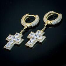 Mens Gold Sterling Silver 2pc Cross Solitaire Huggie Hoop Dangle Earrings RC8